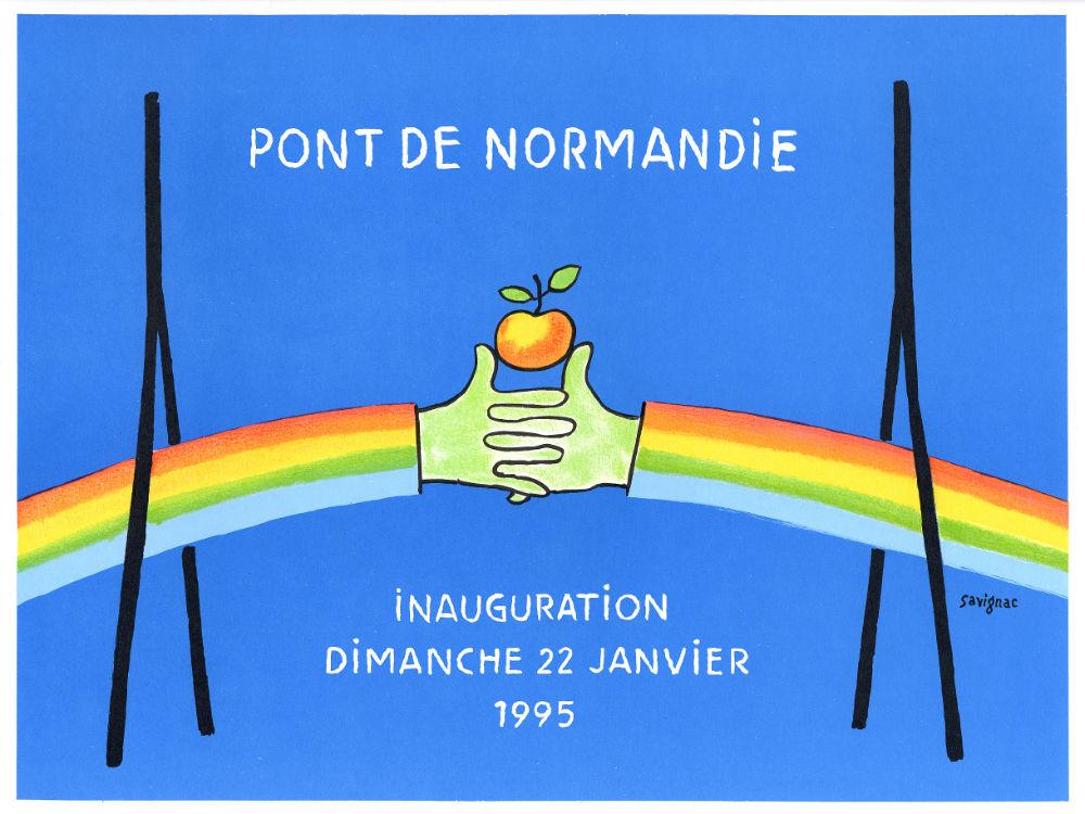 Affiche Savignac Inauguration Du Pont De Normandie